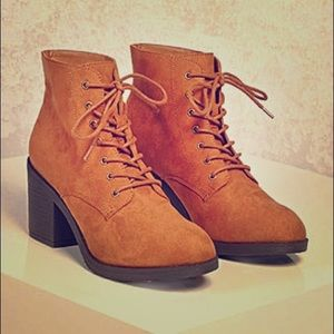Faux suede ankle boots, combat style